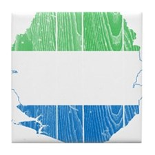 Sierra Leone Flag And Map Tile Coaster