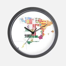 Spain Subdivisions Flag And Map Wall Clock