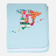 Spain Subdivisions Flag And Map baby blanket