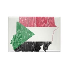 Sudan Flag And Map Rectangle Magnet