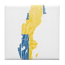 Sweden Flag And Map Tile Coaster