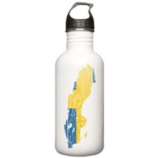 Sweden Flag And Map Water Bottle