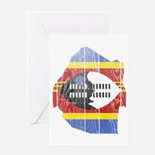 Swaziland Flag And Map Greeting Card