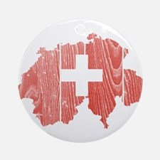 Switzerland Flag And Map Ornament (Round)