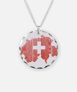 Switzerland Flag And Map Necklace