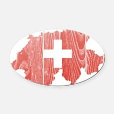 Switzerland Flag And Map Oval Car Magnet