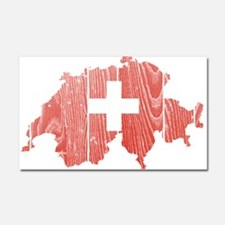 Switzerland Flag And Map Car Magnet 20 x 12