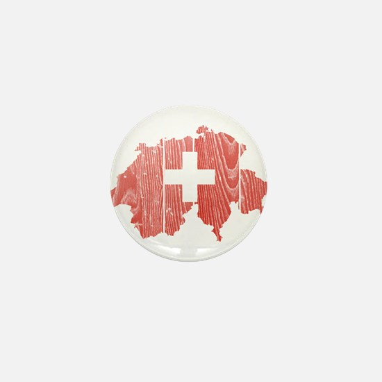 Switzerland Flag And Map Mini Button
