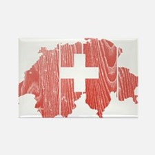 Switzerland Flag And Map Rectangle Magnet (100 pac