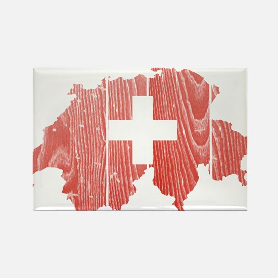Switzerland Flag And Map Rectangle Magnet