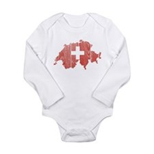 Switzerland Flag And Map Long Sleeve Infant Bodysu