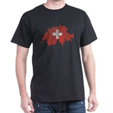 Switzerland Flag And Map T-Shirt
