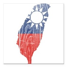 """Taiwan Flag And Map Square Car Magnet 3"""" x 3"""""""
