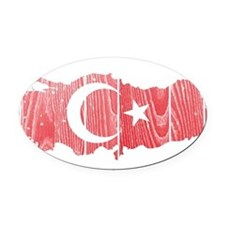 Turkey Flag And Map Oval Car Magnet