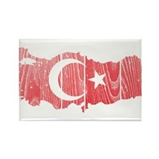 Turkey Flag And Map Rectangle Magnet