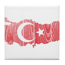 Turkey Flag And Map Tile Coaster