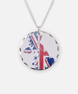 United Kingdom Flag And Map Necklace