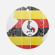 Uganda Flag And Map Ornament (Round)