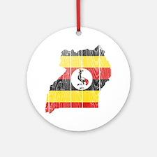 Uganda Flag And Map Ornament (Round)