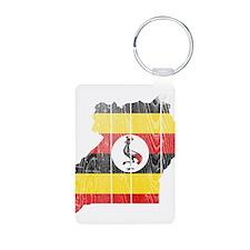 Uganda Flag And Map Aluminum Photo Keychain