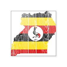 "Uganda Flag And Map Square Sticker 3"" x 3"""