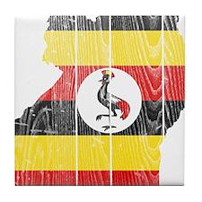 Uganda Flag And Map Tile Coaster