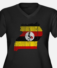 Uganda Flag And Map Women's Plus Size V-Neck Dark