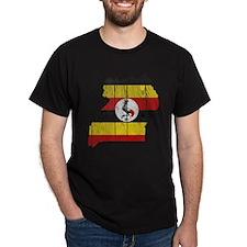 Uganda Flag And Map T-Shirt