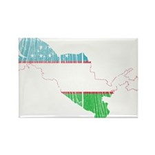 Uzbekistan Flag And Map Rectangle Magnet