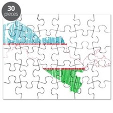 Uzbekistan Flag And Map Puzzle