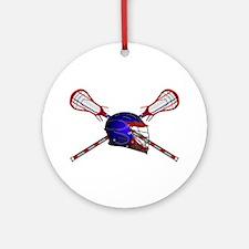 Lacrosse Helmet with sticks Ornament (Round)