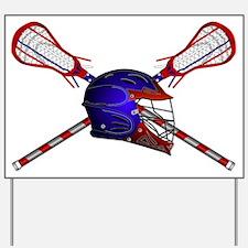 Lacrosse Helmet with sticks Yard Sign