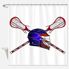 Lacrosse Helmet with sticks Shower Curtain