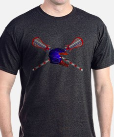Lacrosse Helmet with sticks T-Shirt