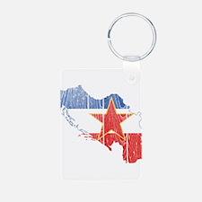 Yugoslavia Star Flag And Map Keychains