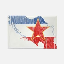 Yugoslavia Star Flag And Map Rectangle Magnet