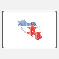 Yugoslavia Star Flag And Map Banner