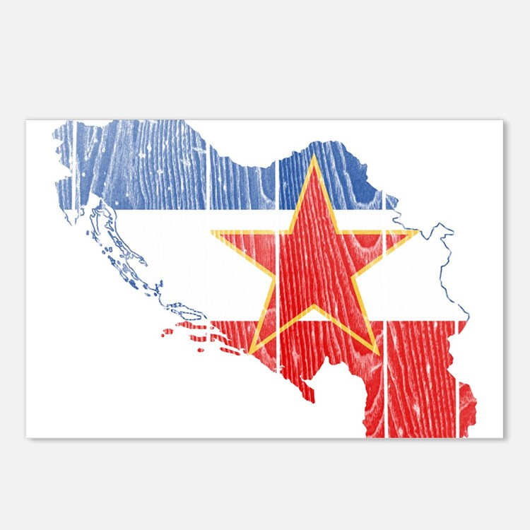 Yugoslavia Star Flag And Map Postcards (Package of