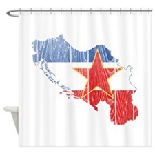 Yugoslavia Star Flag And Map Shower Curtain