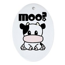 Moo? Cow Ornament (Oval)
