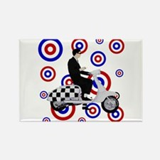 Sixties check mod scooter rid Rectangle Magnet