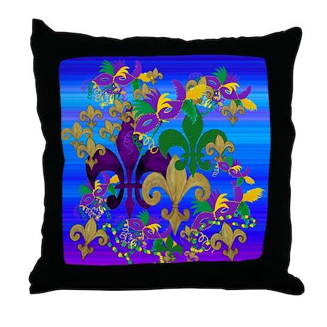 Mardi Gras Psycadelic Throw Pillow