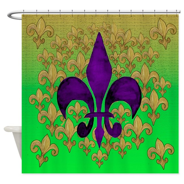 Purple and Gold fleur de lace Shower Curtain by bythebeach
