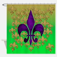 Purple and Gold fleur de lace Shower Curtain