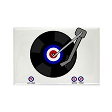 Mod retro vinyl record Rectangle Magnet (100 pack)