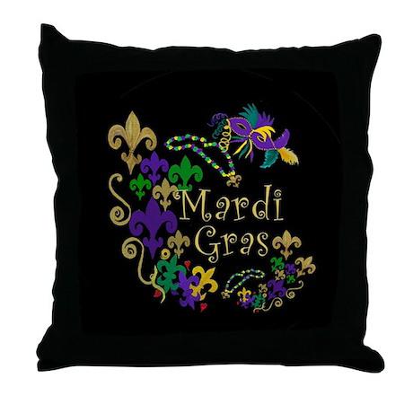 Mardi Gras Accents Throw Pillow