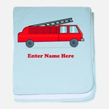 Personalized Fire Truck baby blanket