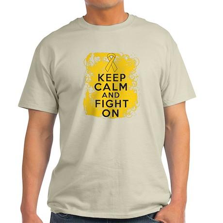 Childhood Cancer Keep Calm Fight On Light T-Shirt