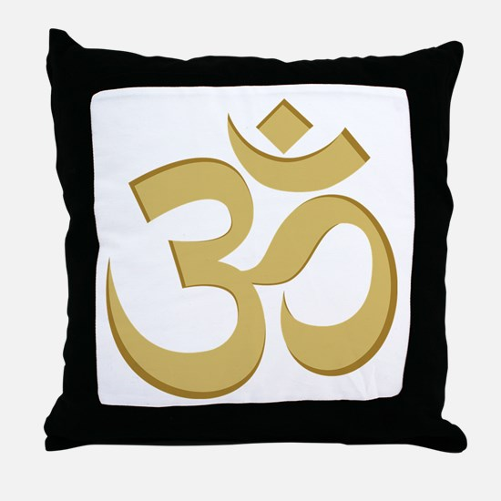Om, Gold Throw Pillow