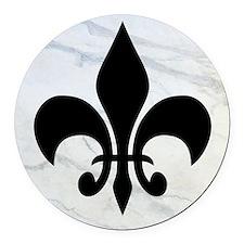 Black Fleur de lis Round Car Magnet